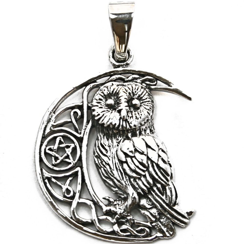 Moon owl with pentagram silver pendant p068 moon owl with pentagram silver pendant p068 aloadofball Choice Image