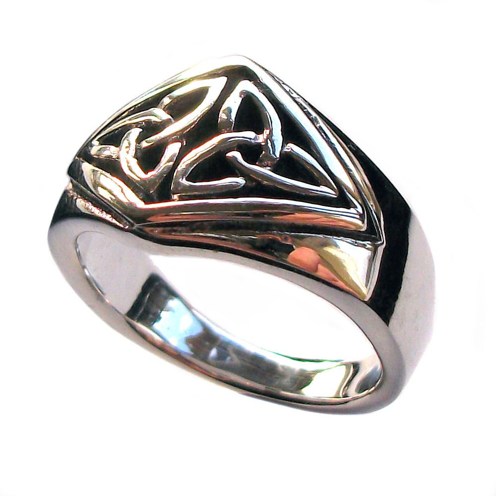 3bdf79d756e4a Sterling Silver Celtic Knot Twin Triquetra Pagan Finger Ring (R009)