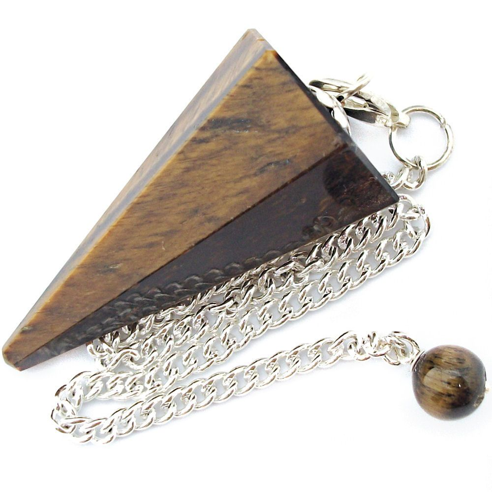 Tiger eye dowsing pendulum crystal point aloadofball Choice Image