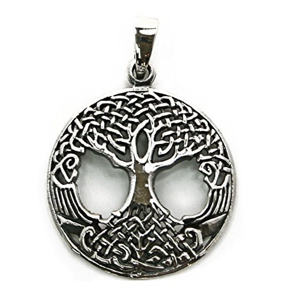 Solid Sterling Silver Solstice Tree of Life Yggdrasill Pendant Pagan (P024) EcE9A2c
