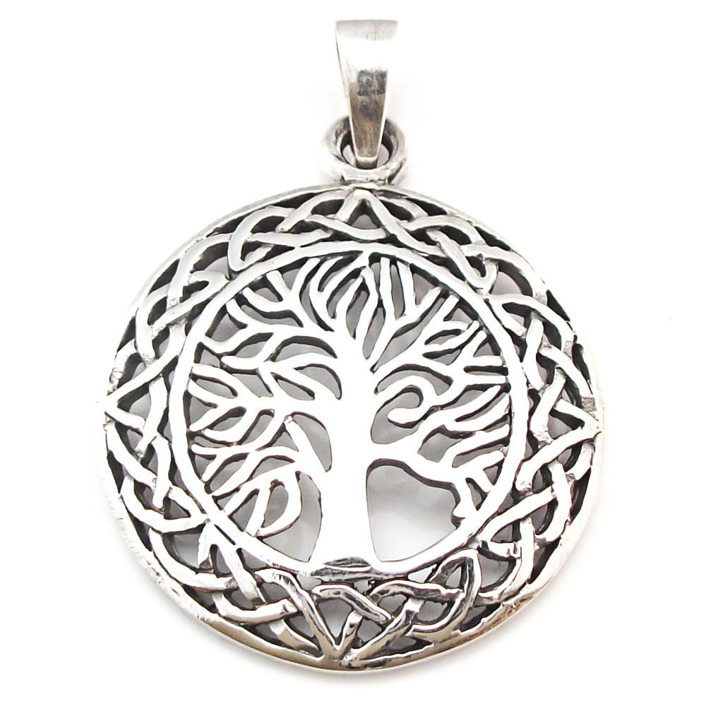 Solid Sterling Silver Pentagram Tree of Life Pendant Pagan (P014) K7ZTW